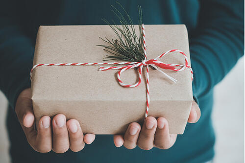 Hands holding a gift